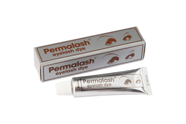 Permalash Brown Brow and Lash Tint: Image of a tube of Brown Permalash tint with the outer box behind it.