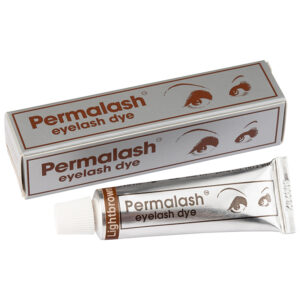 Permalash Light Brown Brow and Lash Tint: Image of a tube of Light Brown Permalash tint with the outer box behind it.