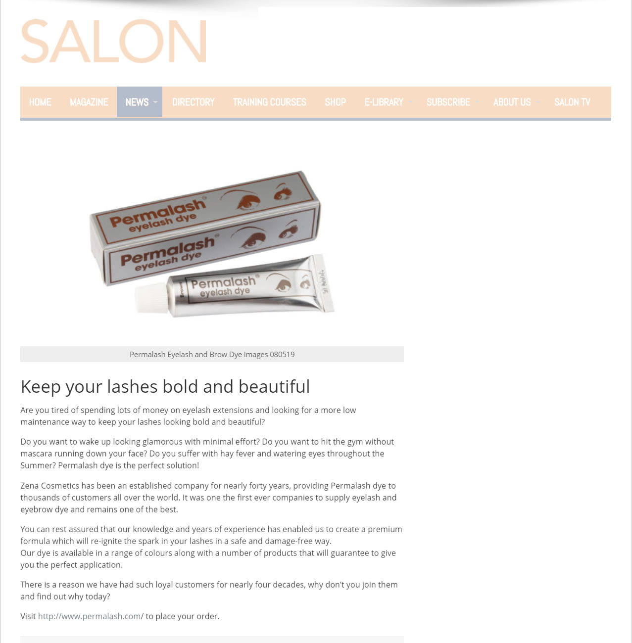 Press Release - The Salon Magazine - Permalash