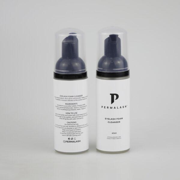 Permalash Foaming Lash Cleanser - Front and Back of Bottles - Permalash