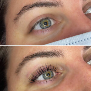 Laura Williams Artist Interview: A before and after of a lash tint and lift.